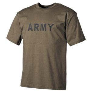 T-Shirt oliv mit Army Druck